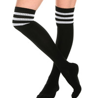Black And White Cushioned Knee-High Crew Socks | Hot Topic