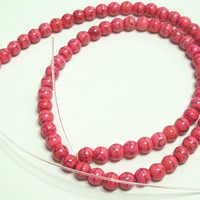 Howlite Deep Rose Round 6mm Strand