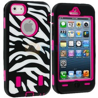 Hot Pink Black White Zebra Hybrid Heavy Duty Case Cover+Protector for iPhone 5