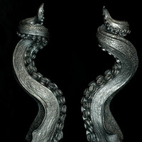 Octopus Tentacle Candle Holder - Set of Two - Pewter finish [DLMC] - $140.00 : Gorey Details, - Edward Gorey, Tim Burton, Alice, Poe, gothic, horror, halloween, vampire, bats, skull, zombie, dragon, fairy, victorian