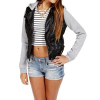 BlackGray Faux Leather Light Jacket