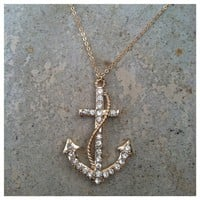 Trendy Anchor Gold & Crystal Necklace- Tanya Kara Jewelry
