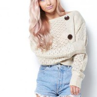 Button Cropped Knit Sweater