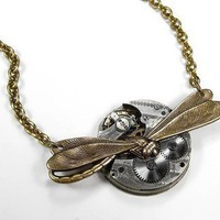 Steampunk Womens Necklace - Silver ORNATE ETCHED Lapel Pocket Watch Pendant Dragonfly Steampunk Jewelry by edmdesigns | edmdesigns - Jewelry on ArtFire