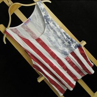 Vintage USA  Stars and the Stripes Print Vest IV03