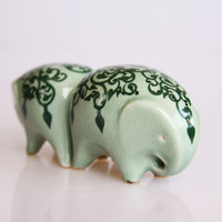Green elephant salt and pepper shakers, Indian style home decor, ceramic elephant figurine
