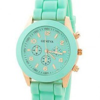 Mint Color Silicone Watch Hj07