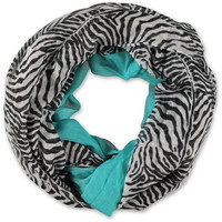 D&Y Zebra & Teal Colorblock Infinity Scarf at Zumiez : PDP
