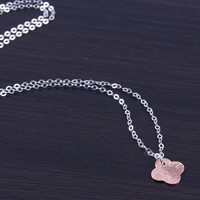 "Rose Gold Clover necklace, tiny clover necklace, lucky charm pendant, rose gold clover, gift under 20, sterling silver necklace, ""Himalia"""