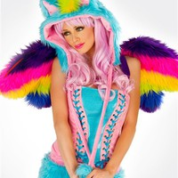J. Valentine Rainbow Pony Hood : Rave Costumes and Outfits