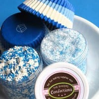 Blue Snowflake Cupcake Kit with Blue Swirl by thebakersconfections