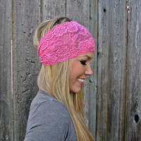 Wide Stretch Lace Headband in Bubblegum Pink by HillNTrees on Etsy