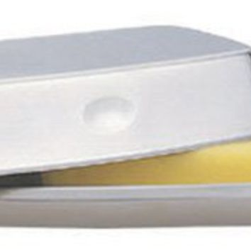 Strauss Satin Stainless Steel Covered Butter Dish - 7.5 x 2 Inch