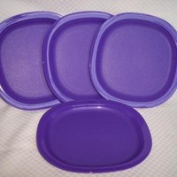 Tupperware Microwave Luncheon Plates Purple