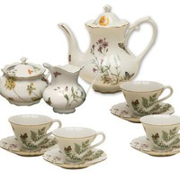 Gracie China Butterfly 11-Piece Porcelain Tea Set, 4-Cup Teapot Sugar Creamer and Four 6-Ounce Cups and Saucers