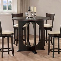 5pc Espresso Counter Height Dining Set w/ Swivel Bar Stools