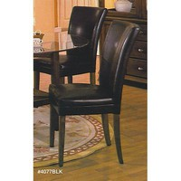 New 6 Parson Chairs Leatherette with Cherry Wood Legs , Black