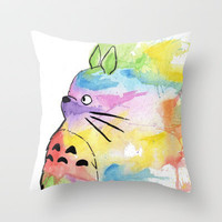 My Rainbow Totoro Throw Pillow by Alisha Ann