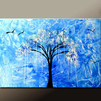 Abstract Canvas Tree Art Painting 36x24 Original Contemporary Landscape Art by Destiny Womack  - dWo - In The Rain