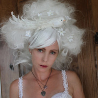 White Wig // OOAK Wig Art Wearable Art Party// by TiffanyDeMichele
