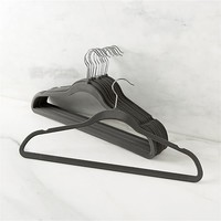 Flocked Grey Hangers Set of 12