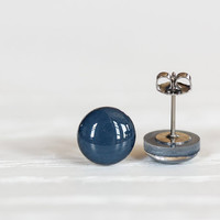 Deep Navy Blue Post Earrings Hypoallergenic by aRainyAfternoon