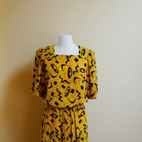 80s Black and Yellow Tribal Print Dress by StrangerThanVintage