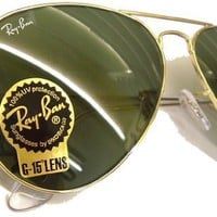 Ray Ban Sunglasses Aviator Large Metal RB3025 L0205 Arista/Crystal Green, 58mm