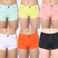Womens Candy Color Elastic Hot Shorts for Summer