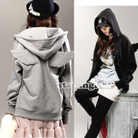 New Women's Gril Angel Hoodie Wings Zip Up Leisure Jacket Coat Sweatshirt SA88