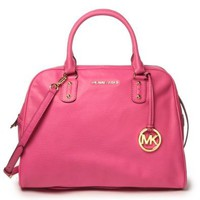 Michael Kors Mk Signature Genuine Leather Large Satchel Zinnia