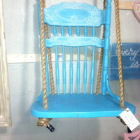 Upcycled shabby chic chair swing