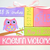 Custom Baby Birth Stats Owl Nursery WoodenBlock Shelf Sitter Stack