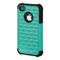 Twisted Tech Diamond Studded Hard Plastic + Rubber Silicone Skin Case for Apple iPhone 4 / 4S-Teal/ Black -In Retail Packaging