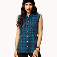 Sleeveless Plaid Shirt