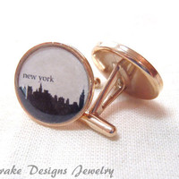 New York skyline Cufflinks NYC cuff links Solid Bronze Custom city