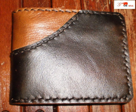 Handmade brown 2 tone leather man&#x27;s wallet by brand by G2Pleather