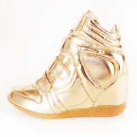Metallic Wedge Sneakers