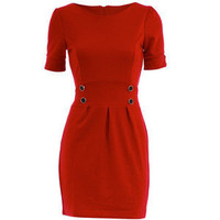 Red button detail shift dress - Dorothy Perkins - Polyvore