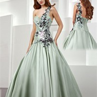One Shoulder A-line Sweetheart Applique Taffeta Prom Dress PD0032