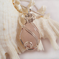 Rose Quartz Gemstone Pendant, Wire Wrapped Handmade Jewelry.