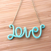 turquoise love necklace by bythecoco on Etsy
