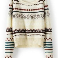 Beige Loose Tribe Stripe Long Sleeve Sweater