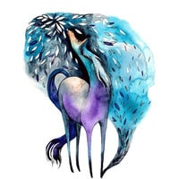 ON SALE Mystic Horse Magic Watercolor Illustration Mythological Animal Dream Turquoise Purple Navy Blue Leaf Woodland Fairy Tale