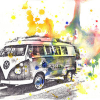 Retro Vintage Art Volkswagen Vw Van Bus Watercolor by idillard