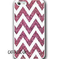 Iphone 4 4s 5 case cover apple glitter patern hot pink chevron sparkle