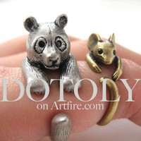 3D Panda Bear Ring in Silver - Sizes 5 to 9 Available | dotoly - Jewelry on ArtFire
