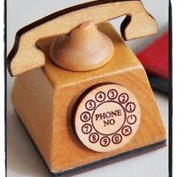 Hand Dail Telephone Wood mounted Rubber Stamp - Eiffel Tower, Sewing Machine or Telephone