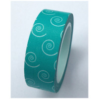 Teal swirls Washi Tape Roll Adhesive Stickers WT386