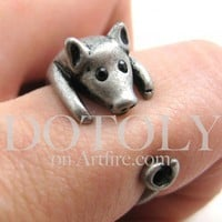 Miniature Piglet Pig Ring in Silver - Sizes 4 to 8.5 Available | dotoly - Jewelry on ArtFire
